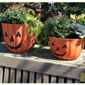 Two Pumpkin Face Planters