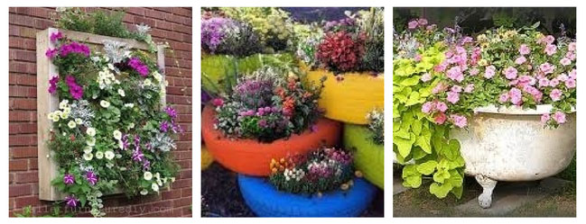 Creative Container Garden Ideas - upcycled container gardens